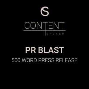 PR Blast Content Creation 500 word press release